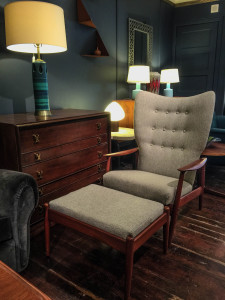 Danish Wingback Armchair and Ottoman