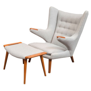 Papa Bear Chair and Ottoman (Hans Wegner)